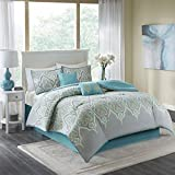 quilts in blue - Comfort Spaces Mona Cotton printed Comforter Set - 6 Piece - Teal Grey - Paisley Design - Queen Size, includes 1 Comforter, 2 Shams, 1 Bedskirt, 2 Embroidered Decorative Pillows