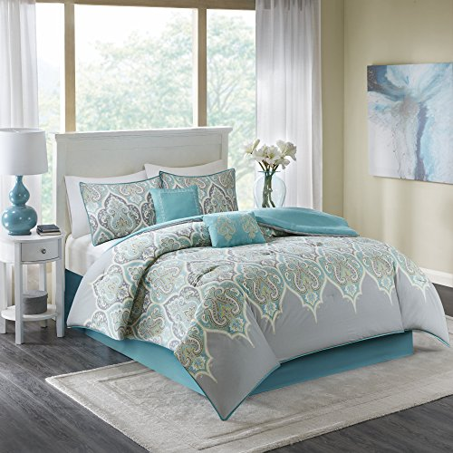 Comfort Spaces - Mona Cotton printed Comforter Set - 6 Piece - Teal Grey - Paisley Design - Queen Size, includes 1 Comforter, 2 Shams, 1 Bedskirt, 2 Embroidered Decorative Pillows (Paisley Comforter Queen)