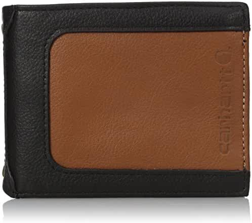 Carhartt Men's Black and Tan Rfid Blocking Flip Id Billfold