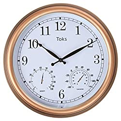 Lilyshome 3-In-1 Indoor or Outdoor Wall Clock with Thermometer and Hygrometer - 15-Inch, Bronze