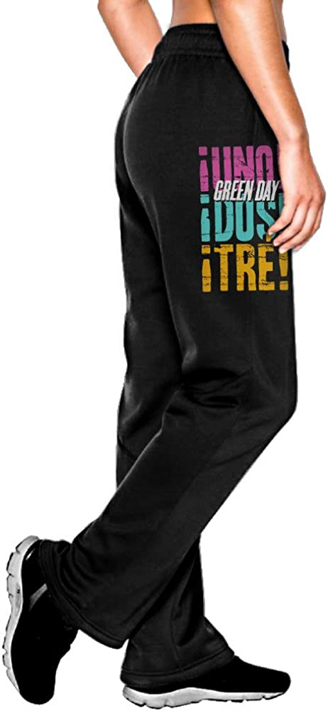 MEGGE Women's UNO . . . DOS . . . TRE Drawstring Athletic Lounge Sweatpants Black