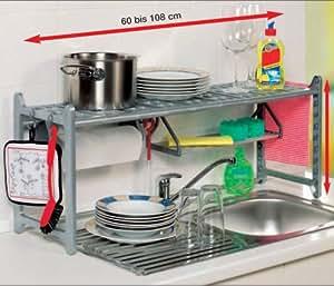Ruco - Estantería para parte superior del fregadero (108 x 60 cm), en aluminio