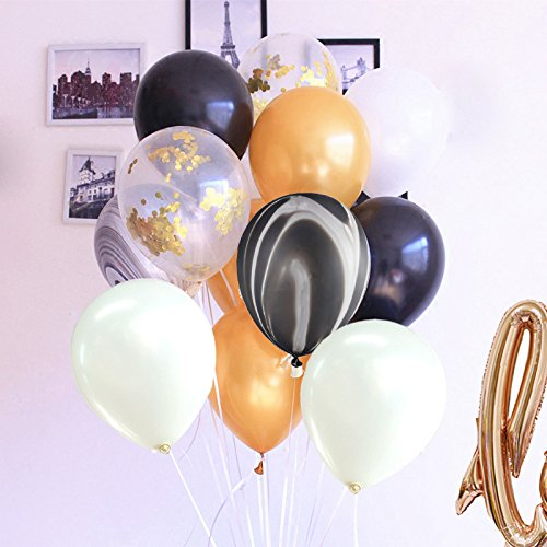 "42 Inch ""Love"" and 12Inch Black Gold Latex Balloons for Confession Bachelorette Wedding Baby Shower Window Design Birthday Festive Party Decoration (Black Gold Set)"