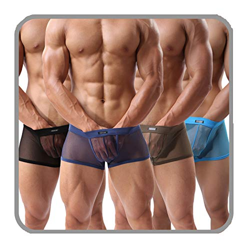 (Men's Boxers Sexy Underwear Mesh Breathable Gay Low Rise Boxer)