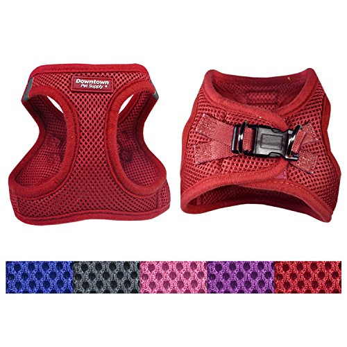 Downtown Pet Supply Best No Pull, Step in Adjustable Dog Harness with Padded Vest, Easy to Put on Small, Medium and Large Dogs (Red, ()
