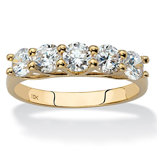 Solid 10k Yellow Gold Single Row Ring, Round Cubic Zirconia Size 6
