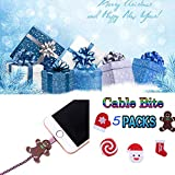 CMrtew ❤️ 5PCS Christmas Cable Bite All Cable Cord Animal Phone Accessory Protects Cute Cable Winder Protector Cable iPhone (Multicolor, 35 x30x15 mm)