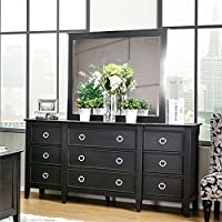 Furniture of America Mardon Dresser with Mirror in Wire Brushed Black