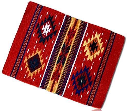 (Red, Gold, Blue Rectangle Southwestern Diamond Native American geometric pattern Mexican Fringed Blanket Table Placemats Made of 90% Wool & 10% Polyester yarn [1 Unit] + Certificate)