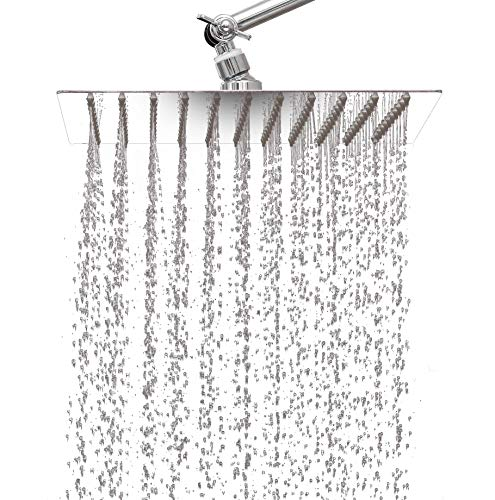 10 inch Rainfall Shower Head by Katoka Home with 11 inch Adjustable Extension Arm – Large Ultra Thin Stainless Steel Adjustable-Pressure with 121 Silicone Nozzles creates a rain water spa experience