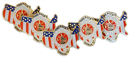 Patriotic Americas' Bravest FireFighters American Flag 5-Piece Lapel or Hat Pin and Tie Tack Set with Clutch Back by Novel Merk
