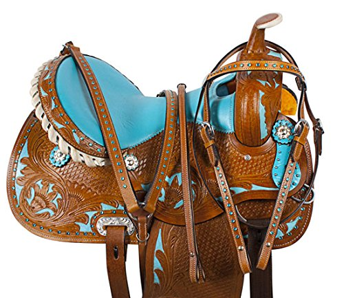 Tack Saddle Pleasure Trail (AceRugs 14 15 16 WESTERN BLUE SHOW BARREL RACING CRYSTAL RACER LEATHER HORSE SADDLE TRAIL PLEASURE & TACK SET (14
