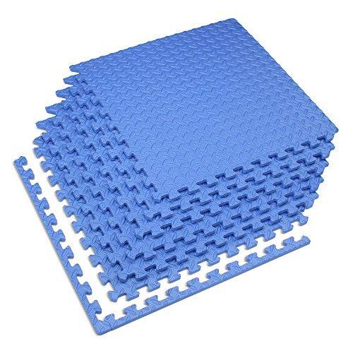 Velotas Blue, 100 sq' (25 Tiles) Blue 1/2'' Thick Interlocking Foam Fitness Mat