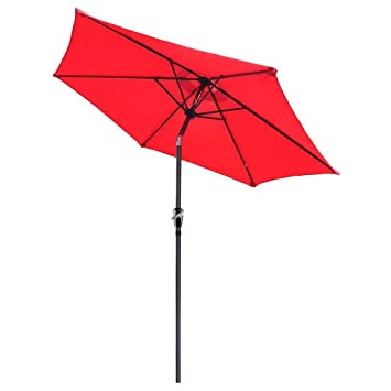 Yescom 8ft Aluminum Outdoor Patio Red Umbrella w/Crank Tilt Deck Market Yard Beach Pool Cafe Shade