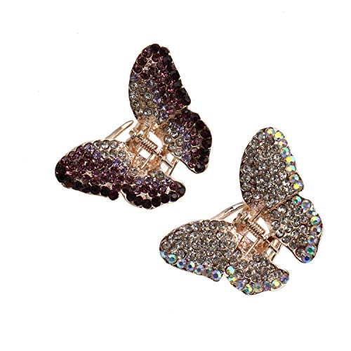 - JETEHO 2 PCS Multi-Color Butterfly Hair Claw Clips Crystal Hair Accessories for Women Girls