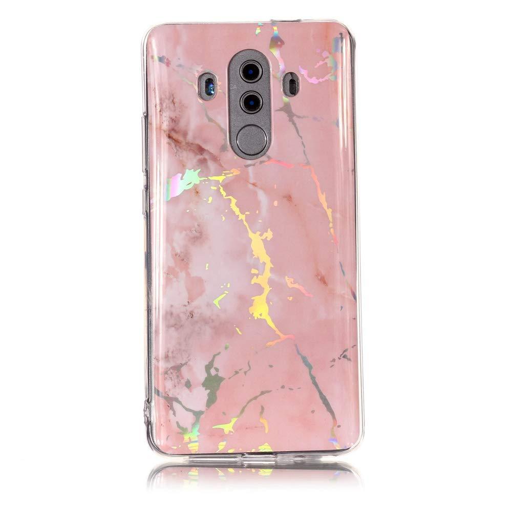 XINYIYI Coque pour Huawei Mate 10, Ultra Mince Creative Coloré Silicone Gel TPU Bling Couverture en Marbre Glitter Antichoc Doux Case Etui de Protection pour Mate 10 (Donut Blanc Vert)