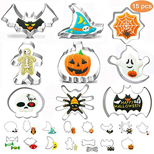 Bone Cookies For Halloween (15PCS Halloween Cookie Cutters set,MSDADA Metal Stainless Steel Cutters Halloween Series Pumpkin, Bat,Ghost,Spider,Skull,Witch Hat,Moon,Candy and Owl Biscuit Cutters Kitchen)