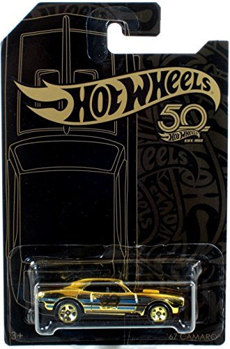 Hot Wheels 2018 50th Anniversary Black & Gold Series '67 Camaro Chase 1/64 Scale Diecast Model Car ()