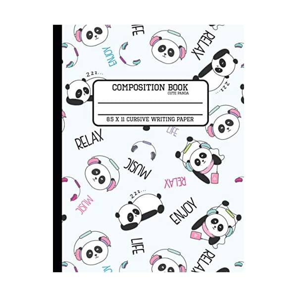 Composition Book Cute Panda Cursive Writing Paper: Back to School Quad Composition Book for Teachers, Students, Kids and Teens