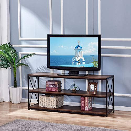 (Infurnise Organizer Finish TV Stand Entertainment Center with Shelves Large 3-Tier Media Console Table Home Furniture for Living Room Heavy Duty Metal Frame Rustic Oak)