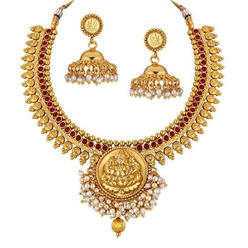 Spargz Designer Brass Metal Synthetics Stone Necklace Set