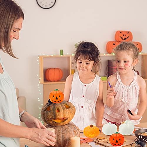 LovesTown DIY Pumpkin Squishies, 6 PCS Halloween Squishes Pumpkins Paint Your Own Squishies Kids Halloween Crafts for Halloween Thanksgiving Party Favors