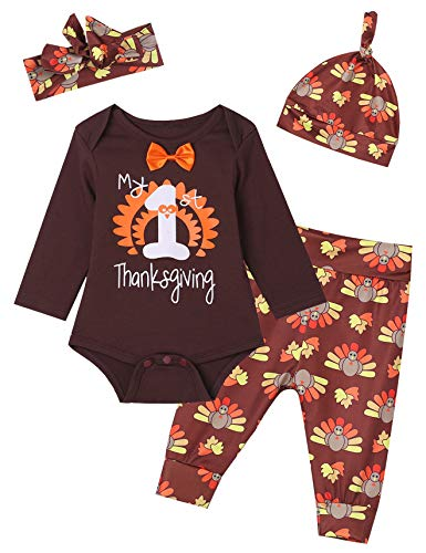 Baby Boys Girls 4PCS My 1st Thanksgiving Turkey Outfit Set Tops Pants Hat and Headband