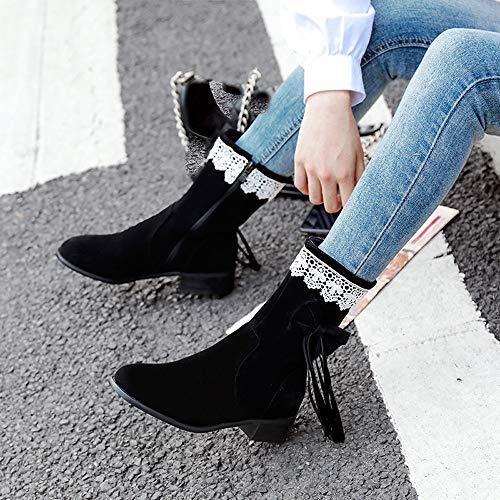 Chaussures Antidérapantes Lacets Noir Dames Daim Bottes En 2018 À Avec Mallooom Pour Papillon Nœuds R8q0gxI