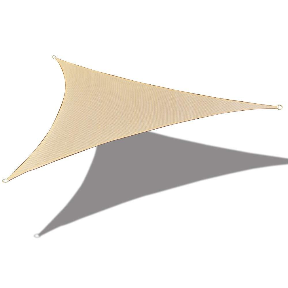 ALION HOME HDPE UV Block Curved Edge Sun Shade Sail Permeable Canopy – Triangle – Custom 185GSM 14 x 14 x 19.8 , Banha Beige