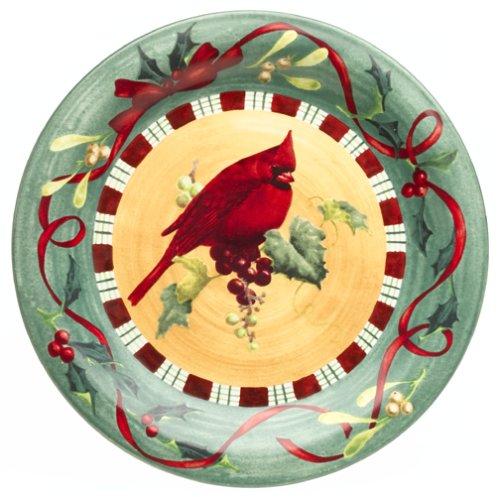 Lenox Winter Greetings Everyday Stoneware Cardinal Dinner Plate - Lenox Crystal Plates