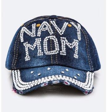 Gem NAVY Stud Crystal MOM Embellished Fashion Denim Cap Hat (Hat Granny)
