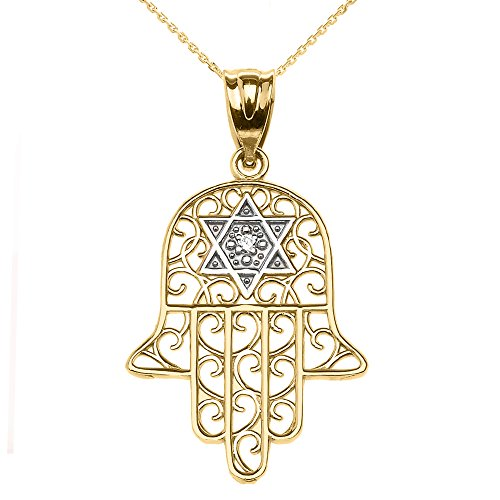 14k Yellow Gold Hamsa Hand With Star of David Diamond centered Pendant Necklace 22""