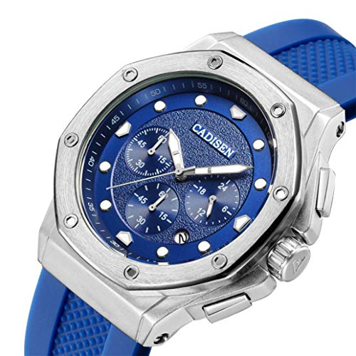 Mens Classic Waterproof Chronograph Silicone Band Quartz Watches with High Hardness Glass Dial and Alloy Case (Blue) ()