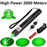 Green Light Pointer High Power Visible Beam with Adjustable Focus for Pointing Sky/Star/Hunting/Hiking, LED Interactive Baton Funny Toy for Dog/Cat