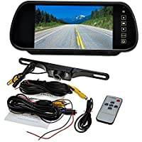 Ouku 7-inch Backup Camera & Rearview Monitor Reversing Parking Mirror Reverse System, LED Waterproof Night Vision Cam, LCD Full Color Display Built-into Mirror Assembly, Distance Scale Lines, Reverse 120°Swivel Angle Adjustable Cam