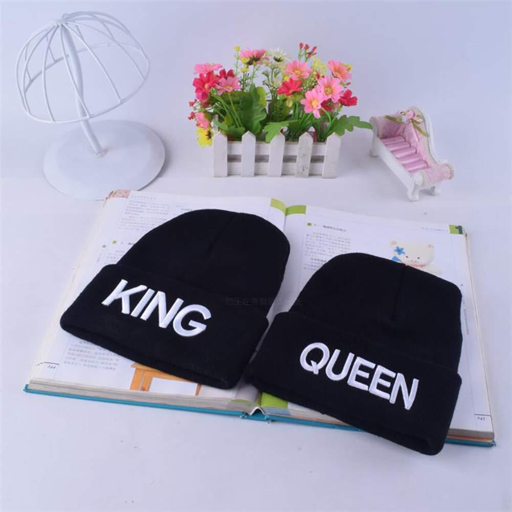 King Taglia Unica JoyFan Nero Skull cap King Queen Invernale Lavorato a Maglia Berretto Fashion 3D Ricamo Cappello