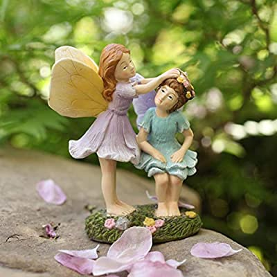 LA JOLIE MUSE Miniature Fairy Garden Figurines - 4 Inch Hand Painted Resin Fairy Sisters Figurines for Indoor & Outdoor Holiday Ornaments Gifts for Mom Girls Kids Adults: Garden & Outdoor