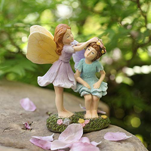 (LA JOLIE MUSE Miniature Fairy Garden Sisters 4 Inch, Hand Painted Resin Figurines, for Garden Indoor Decor Gift)