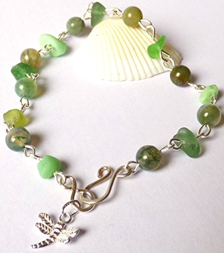 Green Sea Glass & Agate Bead Bracelet with Dragonfly Charm & Sterling Silver Clasp (Dragon Glass Bracelet)