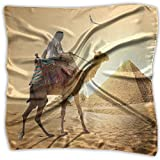 Women Lady Egypt Desert Camels Men Cairo Pyramid Print Square Kerchief Scarf Head Wrap Neck Satin Shawl
