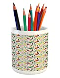 Lunarable Jungle Pencil Pen Holder, Exotic Birds and Palm Trees Colorful Hawaii Foliage and Animals Nature Illustration, Printed Ceramic Pencil Pen Holder for Desk Office Accessory, Multicolor