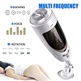 Automatic Men Masturber, Male Masturbator Cup, Rechargeable Pocket Pussy,3D Realistic Vagina with Real Woman's Voice and Strong Thrusting Retractable Sucker Hands-Free for Male Masturbation
