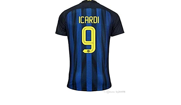 EKUKJSC-Sports 2016 2017 Inter de Milán 9 Mauro Icardi Home Fútbol Fútbol Jersey de flores en azul, hombre, azul, small: Amazon.es: Deportes y aire libre