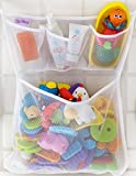 Tub Cubby Bathtub Organizer - 3 Soap Pockets & Massive Toy Bin -4 Lever Lock Suction Cups  + 3M Double Sided Stickers for Porous Walls - Drip Dry Mold Resistant Mesh Bag 100% Guaranteed