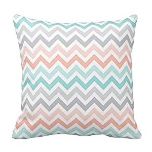Chevron Pattern - Pink Aqua and Gray Pillow Cases Cover Decorative Square with Zipper 18 X 18 Inches Two Sides