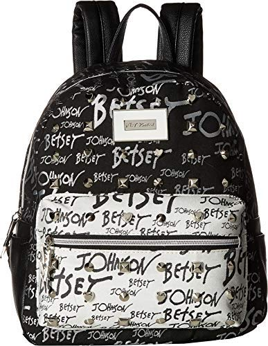 Betsey Johnson Women's Backpack Black/White One Size [並行輸入品] B07K1DDP72