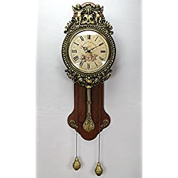 Kollway Wall Wood Traditional Pendulum Clock,grandfather Wood Wall Clock with Mute Design