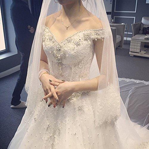 MOMO Wedding dress bride spring and summer v collar collar size yard Qi Sen simple long tail,white,L