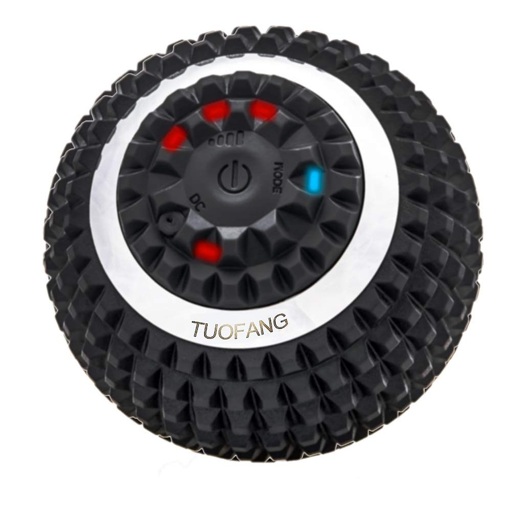 Vibrating Massage Ball - 4-Speed High-Intensity Fitness Yoga Massage Roller, Relieving Muscle Tension Pain & Pressure Massaging Balls, Electric Rechargeable Washable Vibrating Massage Ball (Black) by TuoFang