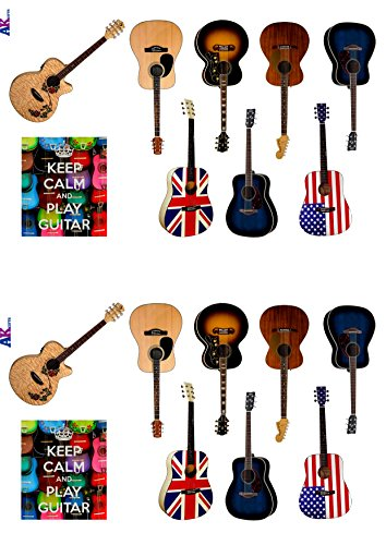 Acoustic guitar party pack cake decorations 36 edible for Acoustic guitar decoration ideas